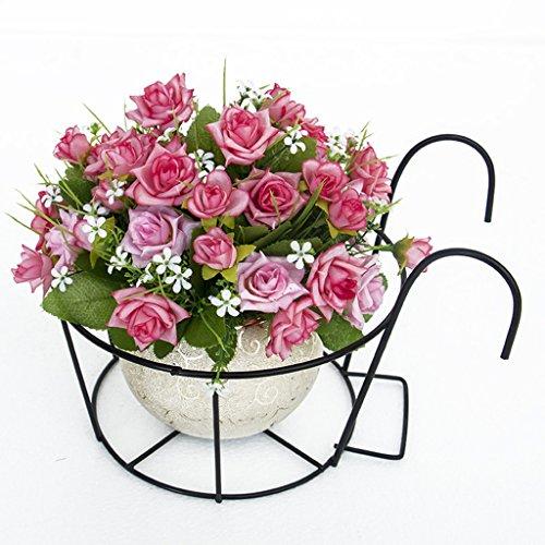 JAZS® Porte-fleurs, garde-corps de fer Guardrail Porte-fleurs suspendue fenêtre balcon Porte-pot à fleurs 23 × 20cm protection de l'environnement raffinée ( Couleur : Noir )