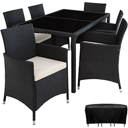 tectake 800325 Salon de Jardin 6+1 en Poly Rotin avec Table + 6 Chaises, Vis en Acier Inoxydable - diverses Couleurs au Choix - (Noir | no. 402058)