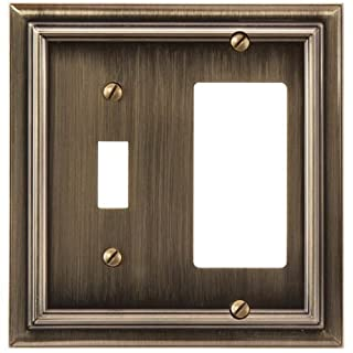 Amerelle 94TRBB Continental Cast Metal Wallplate with 1 Toggle/1 Rocker, Brushed Brass by Amerelle