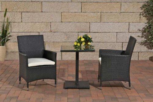 CLP Balkon-Sitzgruppe PALERMO aus Aluminium & Polyrattan (2 x Polyrattan Stuhl Julia + Tisch 60 x 60 cm) deal für Balkon & Terrasse Schwarz