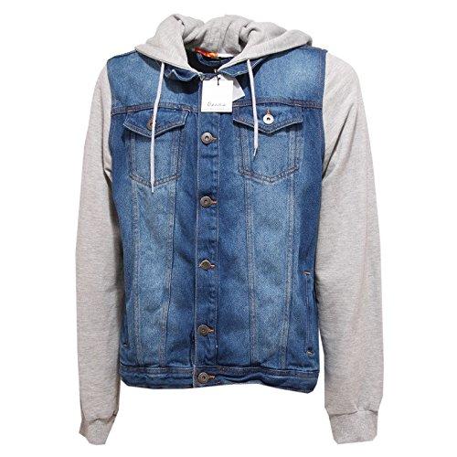 9136Q giubbotto uomo BERNA giacca giubbotti felpa blu jeans grigio jacket men [S]