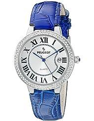 Reloj de las mujeres de plata del bisel de cristal azul de la correa de cuero reloj de pulsera para mujer