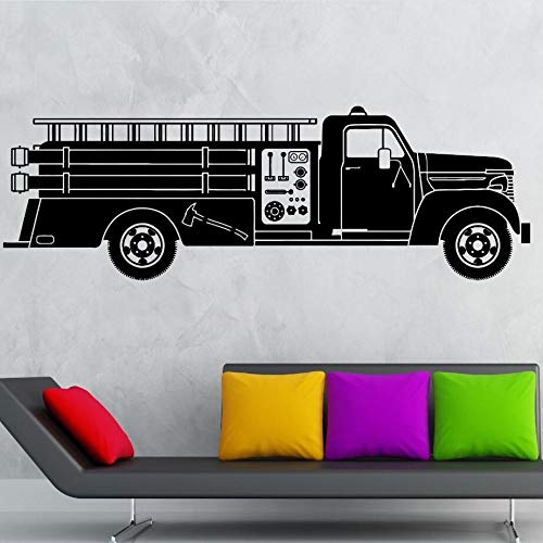 jiuyaomai Auto LKW Wandtattoo Vinyl Wandkunst Wand Feuerwehrauto Wandaufkleber Heiße Fahrt Kinder Jungen Room Decor Feuerwehrmann rot 127x42 cm (Boxer Keine Fahrt)