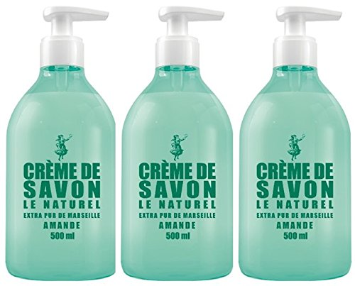 Savon le Naturel - Crème de Savon Extra Pur de Marseille à l'Amande - 500 ml - Lot de 3