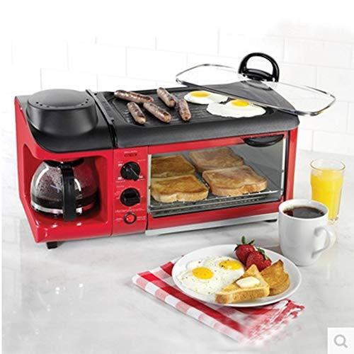 3 In 1 Frühstück Maschine Mit 900W Backofen, 700W Toaster Und 600W/600Ml Kaffeemaschine.9L Multifunktions Küche Kleingeräte, Einstellbare Thermostat Und Timer, Leicht Zu Reinigen Küchengeräte,Rot 1 Frühstück-set