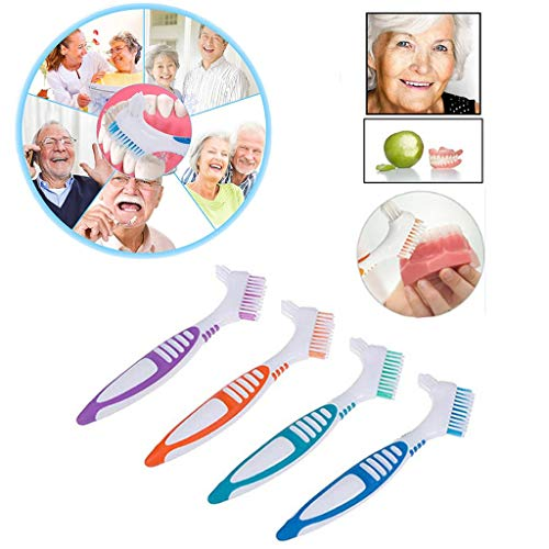 Luccase 4 Stück Prothesenzähne Pinsel Kit ABS und Nylon Einfacher Griff Doppelseitige Zweifarbige Zahnbürsten für Prothesen, Orange, Grün, Lila, Blau
