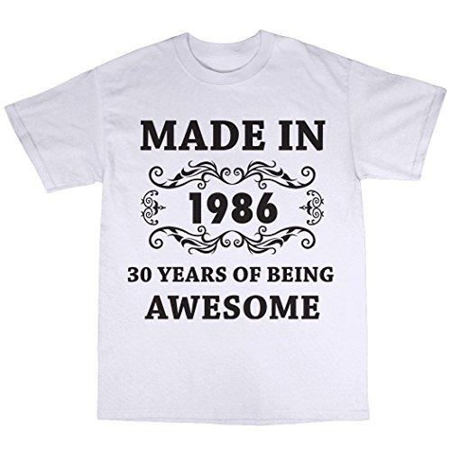 Made In 1986 T-Shirt 100% Baumwolle Weiß