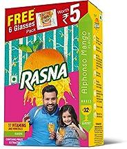 Rasna Fruit Fun 32 Glass monocarton, Alphonso Mango Pack of 5