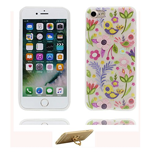 Custodia iPhone 6 Plus, ( Cartoon Rabbit coniglio fiore ) Silicone trasparente iPhone 6S Case iPhone 6s Plus copertura Cover 5.5 e ring supporto Shell Graffi Resistenti Color - 9