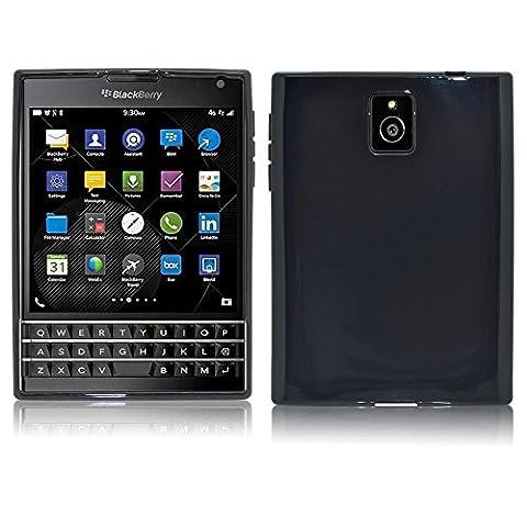 Neuf InventCase® NOIR Plaine TPU Étui Coque Souple en Silicone Pour BlackBerry Passport 2014 avec protecteur d