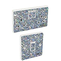 the grafix studio Silver Sequin Light Switch & Double Socket Sticker Vinyl/Skin cover
