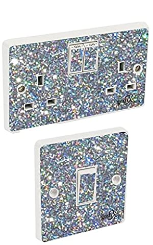 Silver Sequin Light Switch & Double Socket Sticker Vinyl / Skin cover