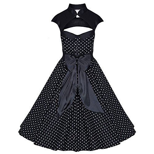 Pretty Kitty Fashion 50s Black White Polka Dot Retro Dress