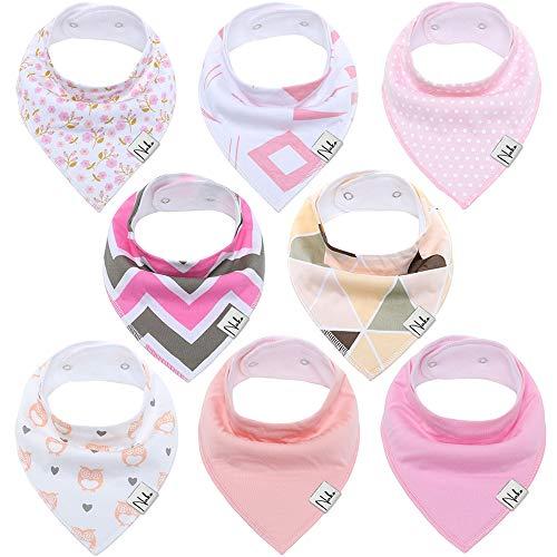 Baby Dreieckstuch von NAKO Lätzchen 8er Saugfähig Weich Spucktuch Lätzchen Baumwolle Halstücher mit Druckknöpfen für Baby Jungen und Mädchen Kleinkinder (Mädchen)