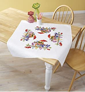 Table Topper 80 x 80 cm Kamaca Embroidery Kit Tablecloth Red Robin in in the Garden Cross Stitch Pre-Printed Cotton Embroidery Set with Embroidery Pattern