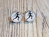 Laufen Running Jogging 925 Sterling Silber 10mm Ohrringe Ohrstecker