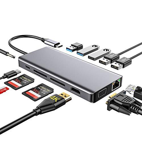 USB C Hub, Dual Display, 13-Port, 4K HDMI Ausgang, VGA, RJ45 LAN, Typ C Ladefunktion, TF/SD Kartenleser, 5 USB Ports, Dex Dock, für Galaxy S8 / S9, Huawei P20 / Mate 20 und MacBook, ChromeBook