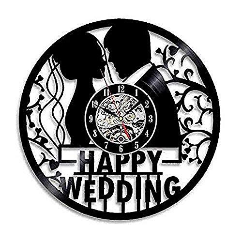 AGlitw Creativo Happy Wedding Orologio da Parete in Vinile Orologio da Parete Moderno per la casa personalità retrò Soggiorno Decorazione Natale Regalo Fatto a Mano per Lu