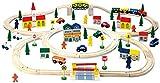 BINO 82201 | Holzeisenbahn set inkl. viel Zubehör | 100 Teile