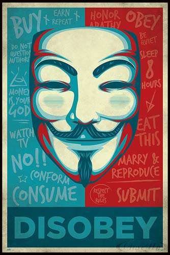 tta Poster Maske Disobey (93x62 cm) gerahmt in: Rahmen schwarz ()