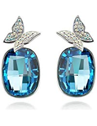 Silver Shoppee Lightness of Being Rhodium Plated Crystal and Cubic Zirconia Studded Alloy Earrings for Girls and Women
