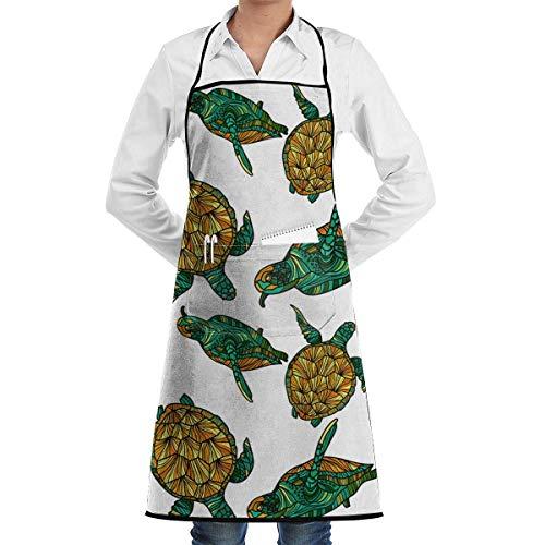 xcvgcxcvasda Einstellbare Latzschürze mit Tasche, Seamless Pattern with Turtles Vector Image Commercial Restaurant and Home Kitchen Schürze Neck Strap- Extra Long Ties (Kleinkinder Turtle-kostüme Für)