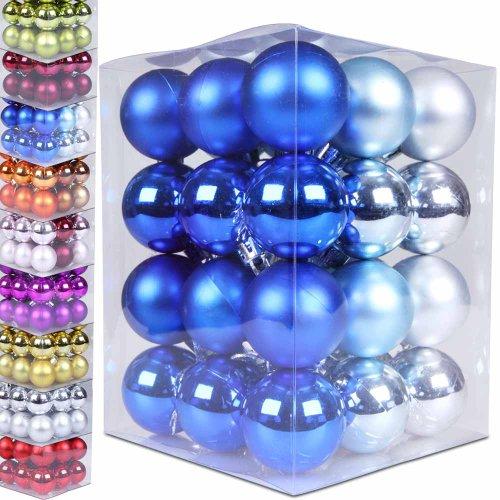 Jago Lot DE 36 Boules de Noël Ø 3/4/5 cm Mats et Brillants (Couleur et Taille au Choix) Couleur Bleu, Quantité 36 Pièces