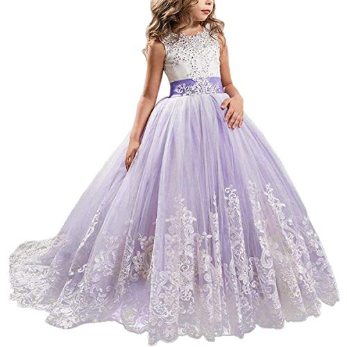 TTYAOVO Mädchen bodenlangen Spitze Prinzessin Kleid Mädchen Party Hochzeit Brautjungfer Kleid Geschichteten geschwollenen Tüll Kleider lila 6-7 Jahre