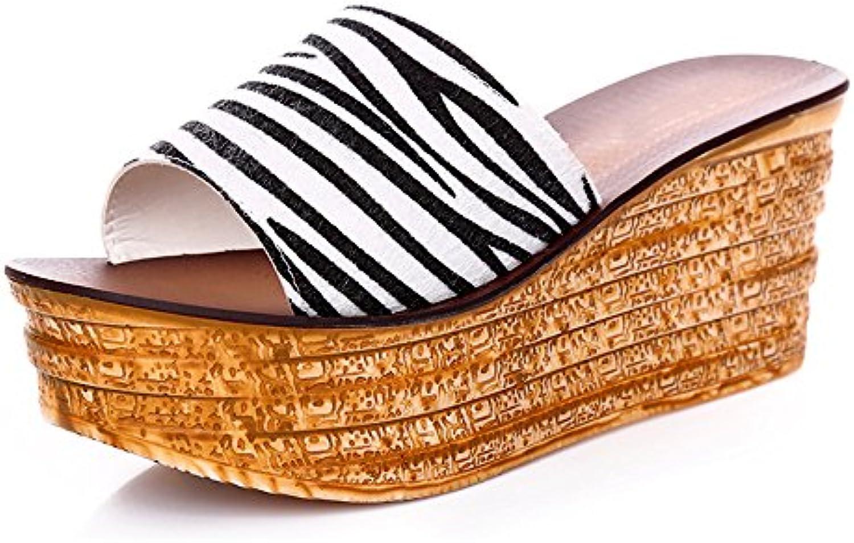HAIZHEN chaussures pour femmes 8cm Femmes pantalons hauts en en en été  s en bas épais avec 4 sortes de couleurs...B079ZZB11MParent 8d2a97