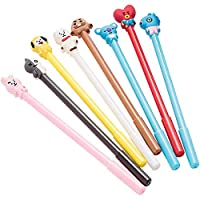 BTS BT21 Figure Black Ink Gel Pen 8Pcs Full Set Official Pen