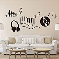 "DNVEN (28""w X 24""h) New Design Music Notes Keyboard Headphone Guitar Record Wall Stickers Quotes Vinyl Wall Decals Decors Art Stickers for Couple Room Kids Room Bedrooms Music Rooms"