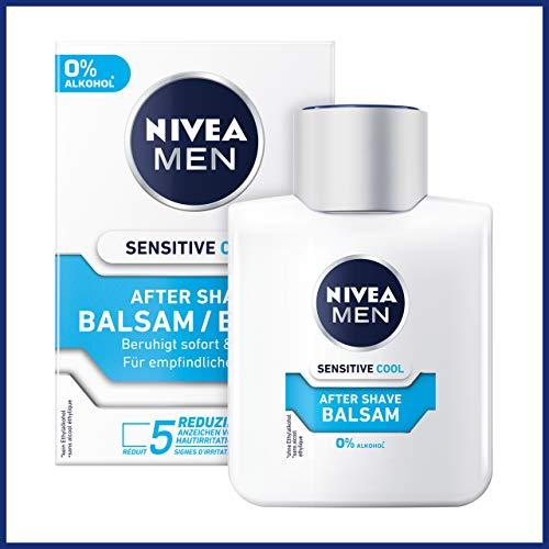 NIVEA MEN Sensitive Cool After Shave Balsam im 3er Pack ( 3 x 100 ml), beruhigendes After Shave, Hautpflege nach der Rasur mit Kamille und Algenextrakten
