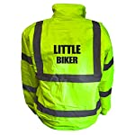 Kids Motorcycle LITTLE BIKER Hi Viz Vis Bomber Jacket Childs Motorbike Reflective Coat Road Safety Biker High Visibility