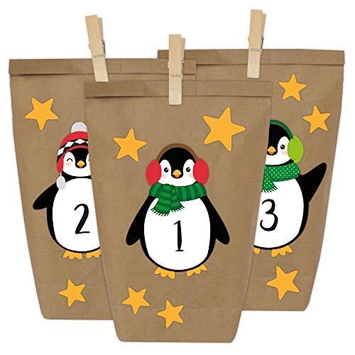 Papierdrachen DIY Adventskalender Kraftpapier Set - Pinguine zum Aufkleben - mit 24 braunen Papiertüten zum selbst Befüllen und zum Selbermachen - Weihnachten 2018