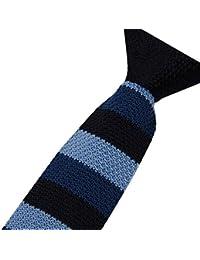 Cravatemince pour homme Rayure Bleu bout carré de 6cm