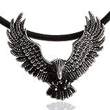DonDon Herren Halskette Leder 50 cm mit Anhänger Biker Adler Edelstahl verpackt in schwarzem Samtbeutel