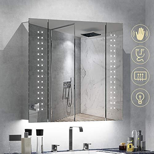 Quavikey LED Badezimmerschrank Aluminium badezimmerspiegel Spiegelschrank mit hinterleuchtet LED Beleuchtung Steckdose Demister 65 x 60cm - Erweitern Bad-spiegel