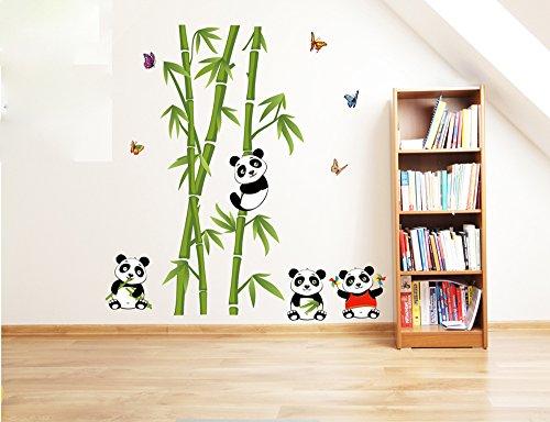 ufengke® Verde Bambù Carino Farfalle Panda Adesivi Murali, Camera da Letto Soggiorno Adesivi da Parete Removibili/Stickers Murali/Decorazione