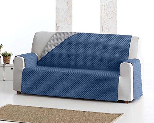 Copridivano salvadivano elena, 3 posti, protezione imbottita per divani reversibile. colore blu 03