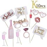 KINDPMA Fotorequisiten Photo Booth Props Party Accessoires Hochzeit Zum Mädchen für Junggesellenabschied Wedding Dekoration Maske Rose 10 Stück