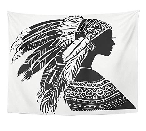 Kostüm Junge Indische - Alfreen Wandteppich, Kunst-Dekor, Wandteppich, indische Junge Frau im Kostüm der amerikanischen indischen Silhouette, schöne Frauen, Polyester-Stoff, Heimdeko, für Wohnzimmer, Schlafzimmer, Wohnheim