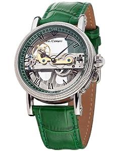 Reloj Yves Camani YC1032-F automático para hombre con correa de piel, color verde de Yves Camani