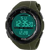 SunJas 5ATM impermeabile Sport orologio da polso Fashion Men LCD Digital cronometro cronografo Data Allarme Sport Orologio da polso in gomma, Dunkel Grün