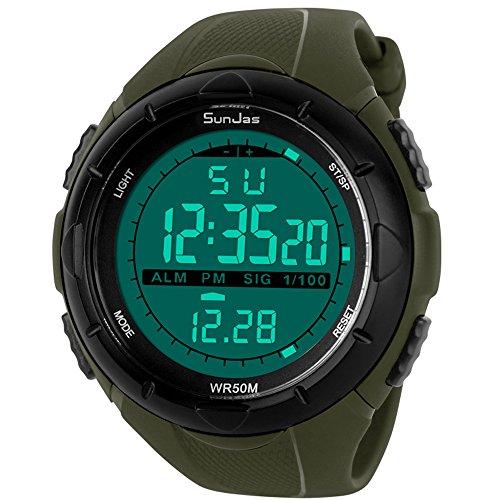 SunJas - Reloj de Pulsera Deportivo Digital para Hombre, Resistente al Agua (5 ATM), LCD, con Cronómetro, Cronógrafo, Fecha y Alarma, de Goma - Verde Oscuro