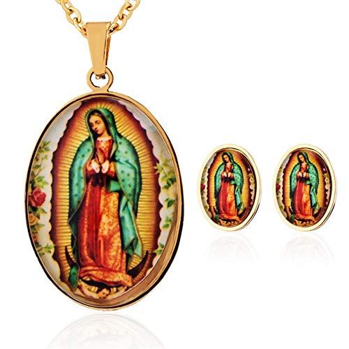 FUKAI Simple Conjunto De Joyas De Acero Inoxidable para Mujeres Hombres Católicos Guadalupe Virgen María Encanto Colgantes Collares Aretes Regalos