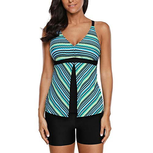 Dough.Q New Greenish Fish Scale Print Tankini Und Short Set Damen Striped Print Badeanzug Zweiteiliger Bikini Striped Set