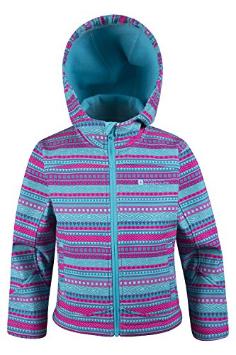 Mountain Warehouse Exodus Kids Printed Softshell Jacket - 2 Pockets Summer Coat, Fleece Lined Hoodie Jacket, Water Resistant Rain Coat- for Cycling, Hiking & Walking