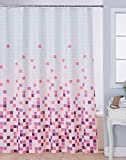 #8: Bianca Polyester Waterproof Printed Shower curtain with 12 Piece Plastic Hooks, 72x80-inch, Pink
