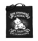 Für alle, die mehr Katzen brauchen! - Jutebeutel (mit langen Henkeln)