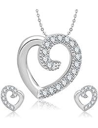 Meenaz Pendant Set For Women & Girls Earrings In American Diamond Silver Plated CzPT182